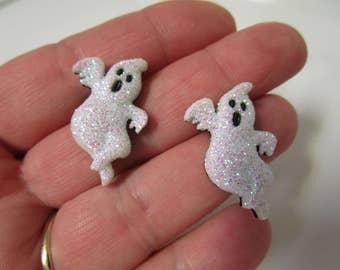 FREE SHIPPING! Irridescent Glitter Ghost Stud Earrings-Halloween Earrings