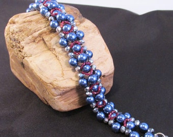Gray/blue Glass Pearl and Crystal Right Angle Weave Bracelet
