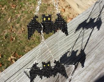 Halloween beaded Bat earrings