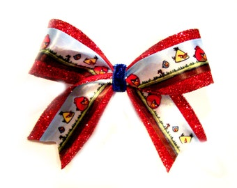 Red Angry Birds Glitter Bow