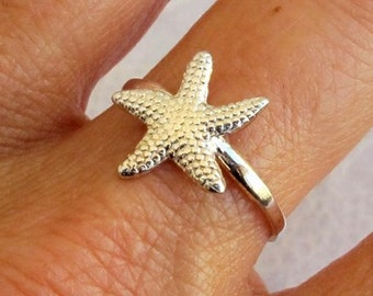 Sterling Silver Ring, Silver Sea Star Ring, Silver Starfish Ring, Silver Band Ring, Silver Sea Ring, Silver Nautical Ring