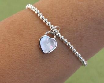 Sterling Silver Bracelet, Silver Charm Bracelet, Silver Heart Bracelet, Stretch Bracelet, Beads Bracelet, Mother of Pearl Bracelet