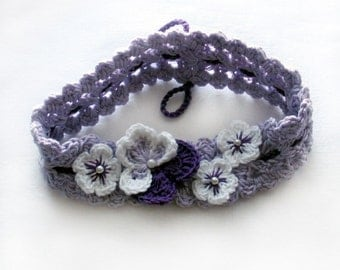 Crochet pansy headband,Crochet pansy hairband,Crochet lilac headband