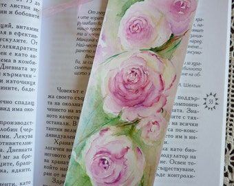 Original watercolor bookmark of pink roses, watercolour bookmark, Roses Painting,  Original Watercolor Painting,  floral art, bookmark