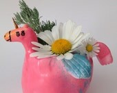 UNICORN PLANTER - Pink and Blue with Fish Fin Wings