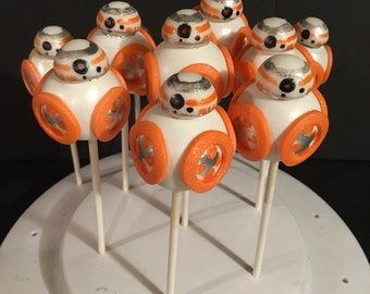 Star Wars Inspired BB-8 Droid Cake Pops