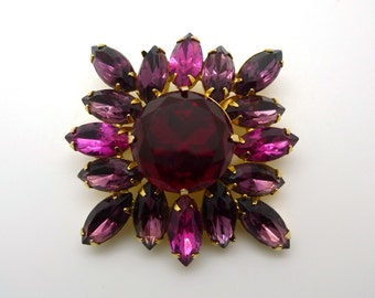 Fabulous Large Vintage Costume Jewelry Brooch Pin in Sparkly Jewel Tones of Pink, Purple, Red