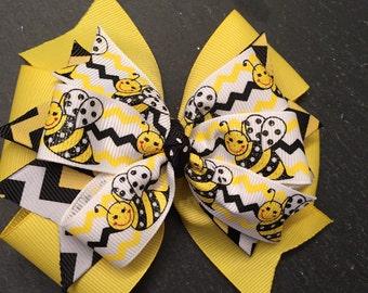 Bumble Bee hair Bow, Bee Hair Bow, Yellow Jackets Hair Bow, Hair Bow, Busy Bee Bow