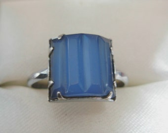 Antique Art Deco Sterling Silver Carved Blue Stone Ring