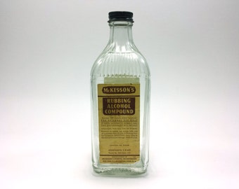 Vintage Glass Bottle | McKesson's Rubbing Alcohol Compound | 7 inches tall