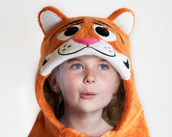 Tiger Hooded Towel, Hooded  Kid's Towel, Zoo Tiger Towel, Fleece Applique, Embroidered, Age 3 to 5 years