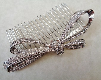 Deco vintage 1920's 30's inspired rhinestone bridal hair comb bow silver colour bridesmaid