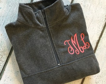 Monogrammed Quarter-zip pullover jacket-Adult Sizes