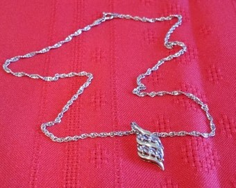 "Beautiful 17 1/2"" Sterling Silver Chain with a beautiful Pendant with a Sterling Silver Pendant with Simulated Amethysts"