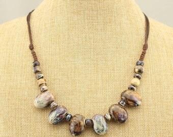 T-L601 Boho necklace,ceramic beads necklace,wax cord necklace,handmade necklace,statement necklace