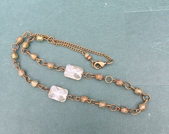 Beaded, vintage-inspired, champagne czech glass faceted necklace