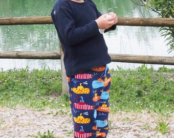 Kid pants, baby and kids pants, girls and boys leggings. Organic cotton GOTS. Blue with submarines. Heavenly Cuffs and waist band.