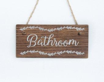 Wooden Bathroom Sign. Rustic Door Sign. Bathroom Decor. Door