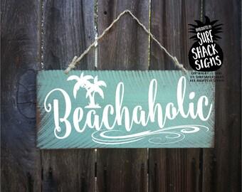 beach, beach decor, beach sign, beach decor coastal, beach decorations, beach house decor, beach wall art, beachaholic sign, 218