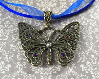 Antique Bronze Filigree Butterfly Necklace