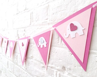 Elephant bunting baby shower decor ~ Baby girl elephant birthday bunting ~ elephant garland ~ pink elephants