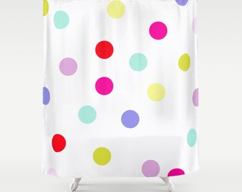 Polkadot Shower Curtain Kids Bathroom Shower Curtain Circus Shower Curtain Bright Polkadots Bathroom Decor Kids Shower Curtain Colorful