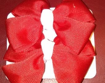 Red hair bow pair