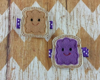 Peanut Butter and Jelly hair clips, P-nut butter jelly hair clippies, hair clippies set, felt hair clips, peanut butter and jelly clippies
