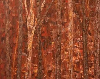 Birch Tree Painting, Tree Painting, Wall art, Birch, Aspen Tree, Birch Tree, Extra Large Wall Art, Large Wall Art, Red Gold Bronze Art,36x36