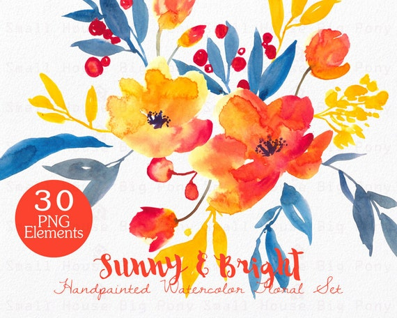 Watercolour Floral Clipart. Handmade, watercolour clipart, wedding diy elements, flowers - Sunny & Bright