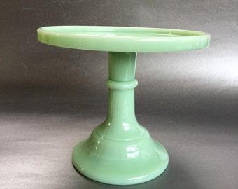 """6"""" Jadeite Green Glass Pedestal Cake Stand Centerpiece Vintage"""