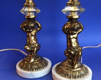 2 Cherub Vintage Brass and Marble Table Lamps Hollywood Regency