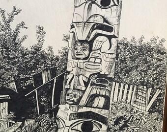 Original Vintage Haida Totem Pole 1978 Signed Ink Drawing Canadian Haida Artist