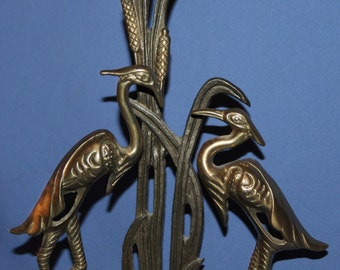 Vintage Hand Made Brass/Bronze Floral Statuette Herons