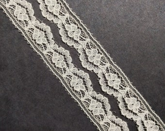 Vintage .5 inch floral, scalloped off white ivory lace trim- by the yard