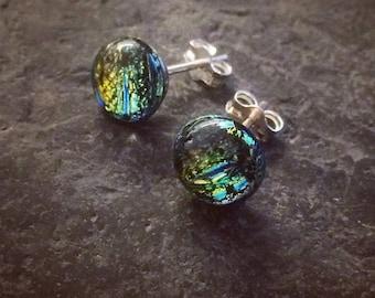 Green Glass & Sterling Silver Earrings