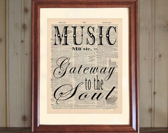 Music Dictionary Print, Music Quote, Musician Gift, Music Teacher Gift, Music Student Grad Gift, Music Saying, Music Print on Canvas Panel