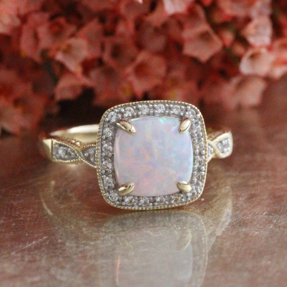 Cushion Cut Opal Engagement Ring in 10k Yellow Gold Color