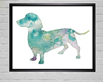 Dachshund  Dog Printable Dachshund Gift Dachshund Print Dachshund Watercolor Dachshund Watercolour Dachshund Wall Printable