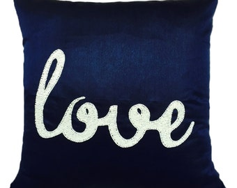 Decorative Love Pillow Cover Love Gift Valentine Pillow Wedding Gift Dark Blue Pillow Valentines Pillow Love Text Pillow Bridesmaid Gift