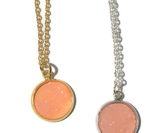 Peach Druzy Necklace  | druzy necklace, gold necklace, silver necklace Caroline