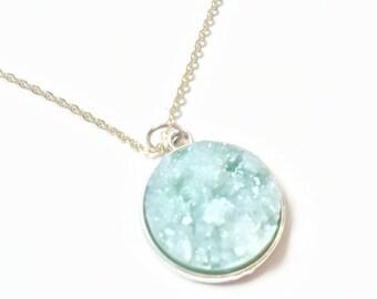 Pastel druzy necklace, druzy stone watercolor druzy silver necklace gold necklace quartz agate necklace watercolor necklace
