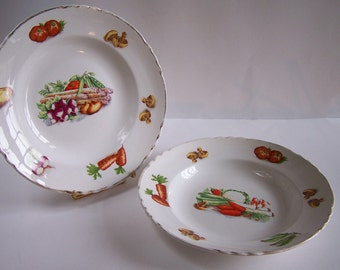Soup plates with vegetable drawings 2 plates Made in France