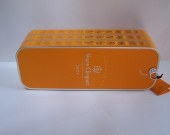 Orange tin box Champagne Veuve Clicquot vintage Made in France