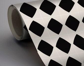 Mexican Diamond Wallpaper in Black  Removable Vinyl Wallpaper - Peel & Stick - No Glue, No Mess