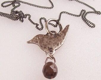 Silver Bird Pendant , Smokey Quartz briolet drop Pendant,  Oxidized Sterling Silver Hallmarked UK