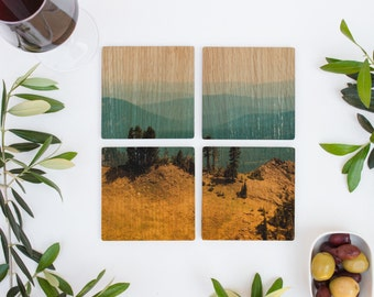 Wood Coasters Set of 4, Les Sierras No 6815, Puzzle Image Wood Coasters