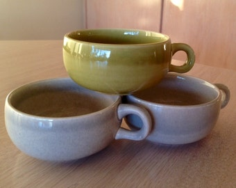 RUSSEL WRIGHT American Modern Set of 3 Cups Only -Steubenville CHARTREUSE and Granite Gray