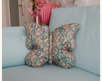 Cushion Butterfly Shabby blue and orange cotton 40x40cm