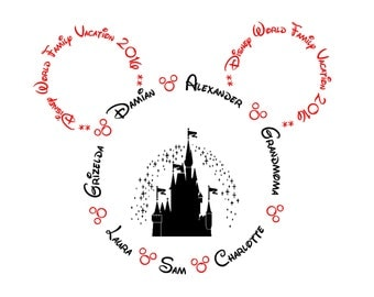Disney World/Land 'Family Vacation 2017/2018' Red And Black - PERSONALISED Iron On T-Shirt Transfer